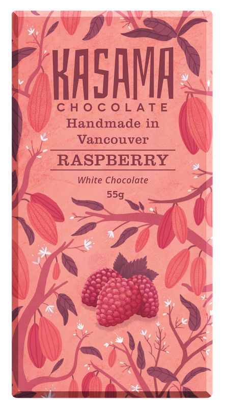 Raspberry White Chocolate bean-to-bar chocolate bar