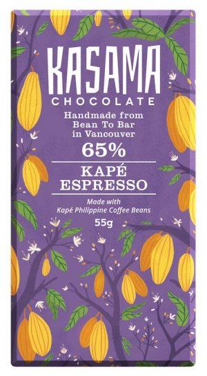 Kape espresso bean-to-bar chocolate bar